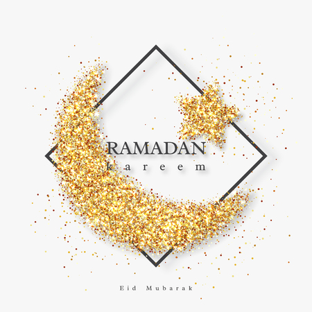 Ramadan Kareem glitter holiday design with glowing lights. White background with black frame. Vector illustration.