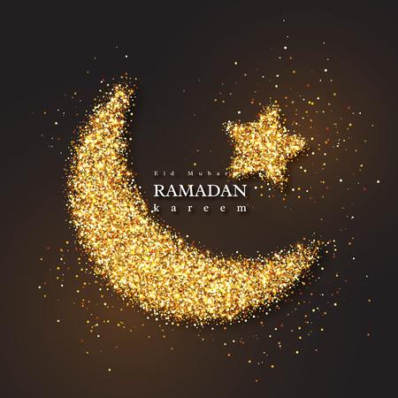 Ramadan Kareem glitter holiday design with glowing lights. Black color background. Vector illustration.