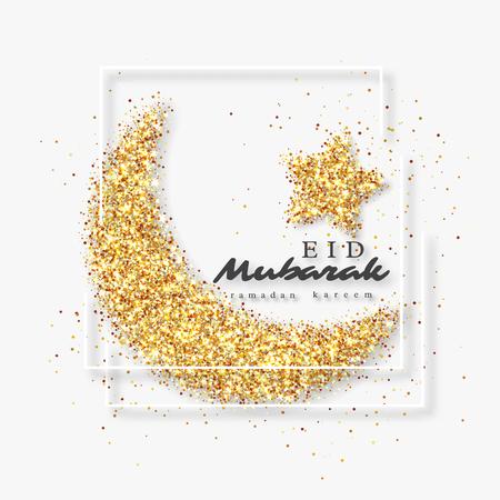 Eid Mubarak glitter design. Stock Photo
