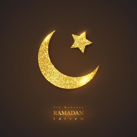 Ramadan Kareem holiday background. Glitter glowing design, black background. Vector illustration.
