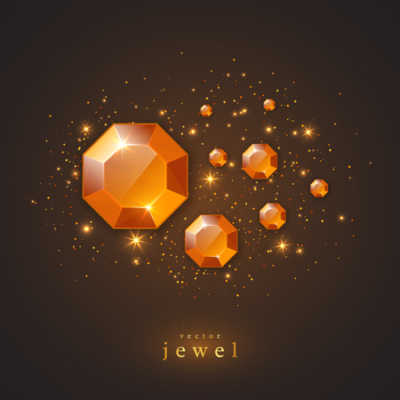 diamond stones: Festive holiday background with golden jewels, diamonds and glowing lights. Concept for banner, flyer, brochures, jewelry gift shop. Vector illustration.