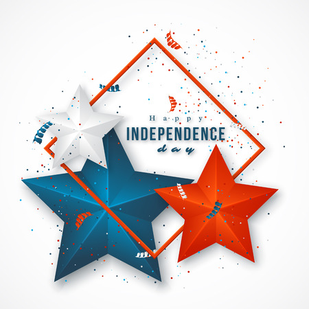 American independence day. Holiday background with frame, 3d stars and confetti. Vector illustration.