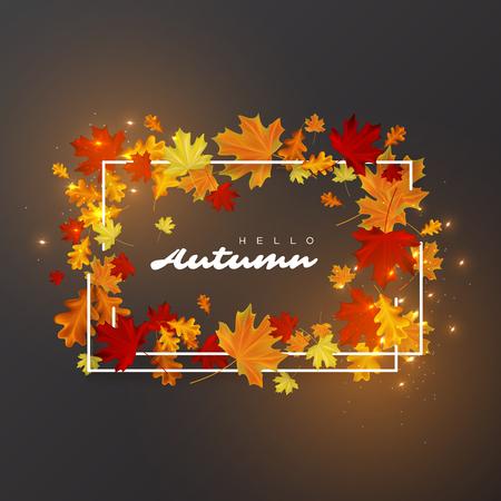 Hallo Herbst Blätter Hintergrund . Weiße Rahmen mit leuchtenden Lichtern . Herbstliche Vektor-Illustration Standard-Bild - 83786490