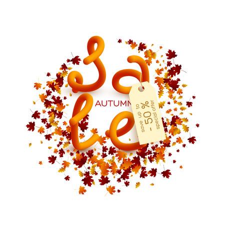 Herfst verkoop posterontwerp. Stock Illustratie