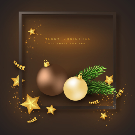 Merry Christmas holiday background with leaves and stars and christmas balls