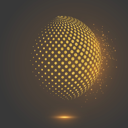 Glitter abstract globe dotted sphere.
