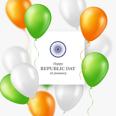 Indian Republic day holiday background. Celebration poster or banner, card with Three color balloons illustration.