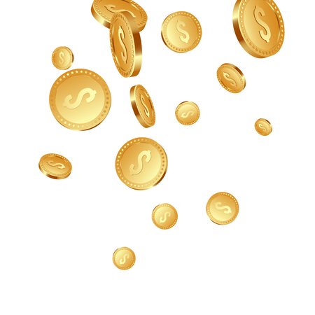 3d realistic falling golden metallic coins, dollar sign. Isolated on white background. Vector illustration.