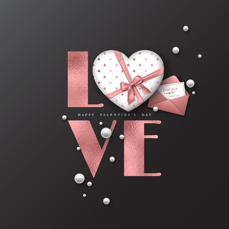 Fondo de vacaciones de día de San Valentín. Amor de la palabra del brillo con efecto de la hoja, corazón 3d y tarjeta de felicitación con el sobre. Elementos decorativos para el diseño de vacaciones. Ilustracion vectorial Foto de archivo - 94809455