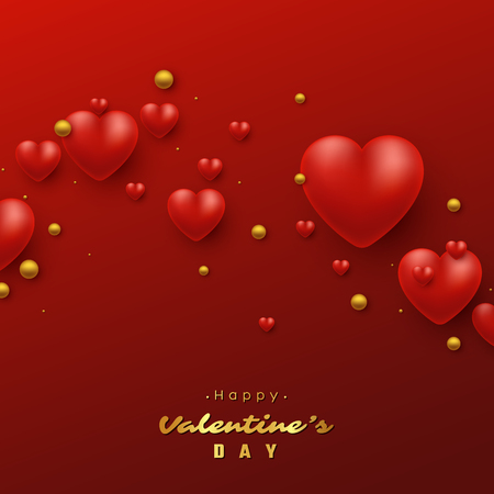 Valentines day holiday background with 3d hearts. Decorative elements for holiday design vector illustration.