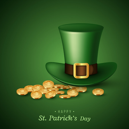 St. Patricks Day card with green hat and gold coins. Vector illustration.