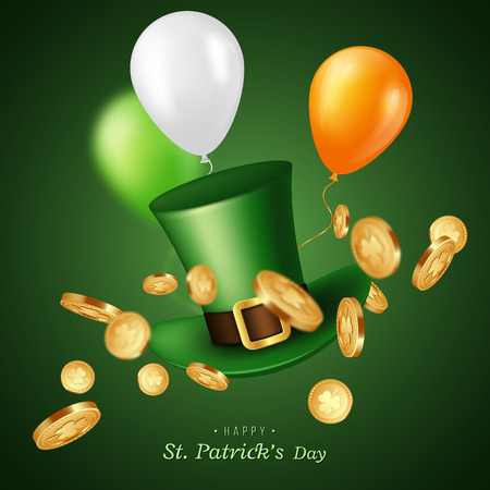 St. Patricks Day card. Green leprechaun hat with coins and balloons. Greeting holiday design. Vector illustration.