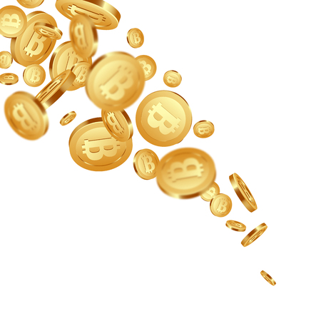3d realistic falling golden metallic bitcoins, cryptocurrency sign. Isolated on white background. Vector illustration.