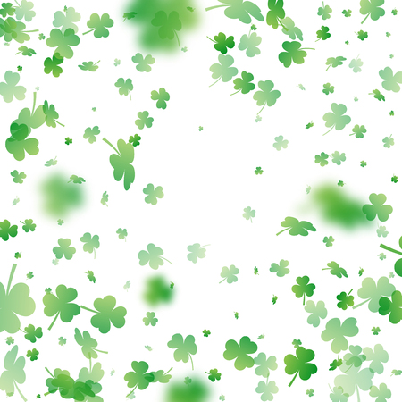 St. Patrick's Day background. Clover leaves with blur effect for greeting holiday design. Vector illustration. Illustration
