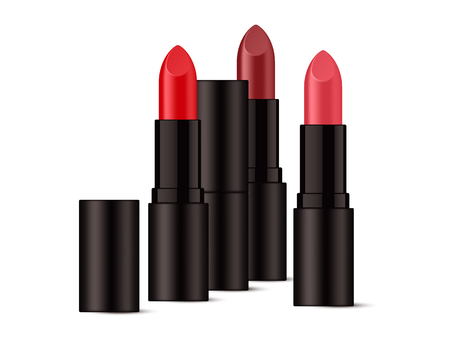 Realistic lipsticks in glossy black packaging. Isolated on white background. Vector illustration.