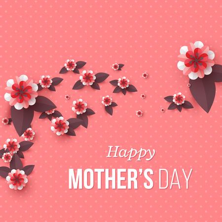 Feliz día de la madre tarjeta de felicitación. Flores de corte de papel, fondo de vacaciones. Ilustración vectorial