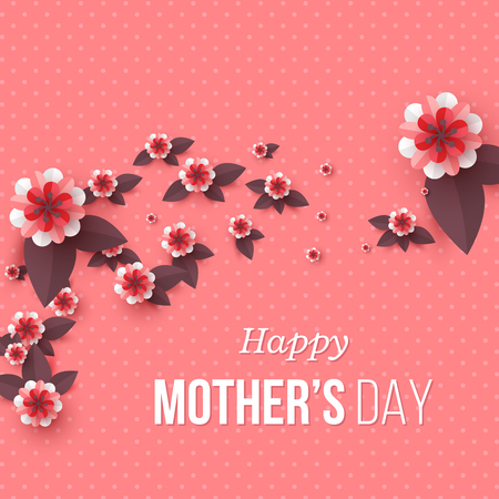 Happy Mothers day greeting card. Paper cut flowers, holiday background. Vector illustration. Çizim