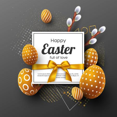 tarjeta de felicitación de pascua de vacaciones. huevos decorativos 3d con arco de oro y ramitas de acebo . resumen de fondo geométrica. ilustración vectorial