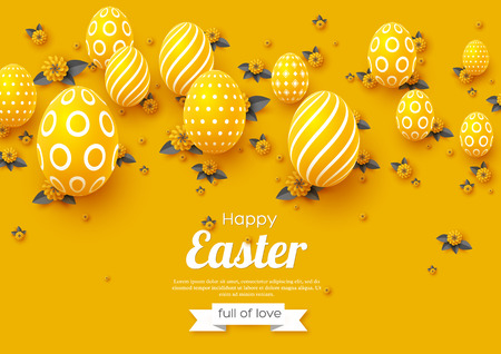 Easter holiday greeting card. Paper cut flowers yellow and grey colors with 3d eggs, holiday background. Vector illustration. Illustration