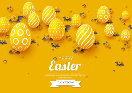 Tarjeta de felicitación de vacaciones de Pascua. El papel corta las flores amarillas y los colores grises con los huevos 3d, fondo del día de fiesta. Ilustración vectorial Ilustración de vector