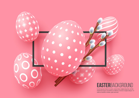 Abstract Easter pink background. Decorative 3d eggs with frame and willow branches. Vector illustration.
