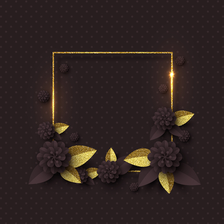 Paper cut flowers with golden glitter leaves, frame. Template for greeting card, holiday background. Papercraft style. Vector illustration.