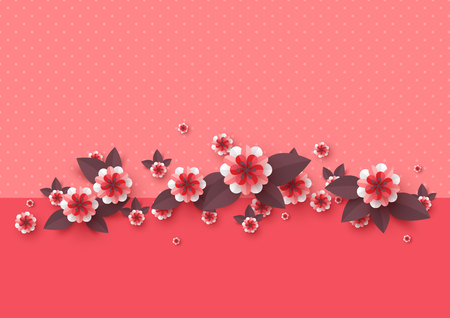 Paper cut decorative flowers. Template for greeting card, holiday background. Papercraft style. Vector illustration.