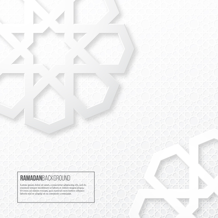 Ramadan holiday background. Paper cut style, design for Muslim festival, islamic traditional pattern. Vector illustration.