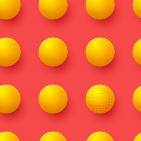 3d yellow balls on red background. Abstract spheres background. Vector illustration.