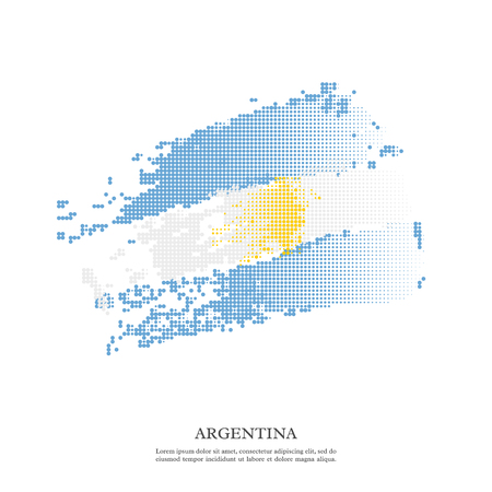 Argentina flag with halftone effect, grunge texture. 向量圖像