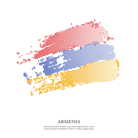 Armenia flag with halftone effect, grunge texture. Isolated on white background. Vector illustration. Illustration