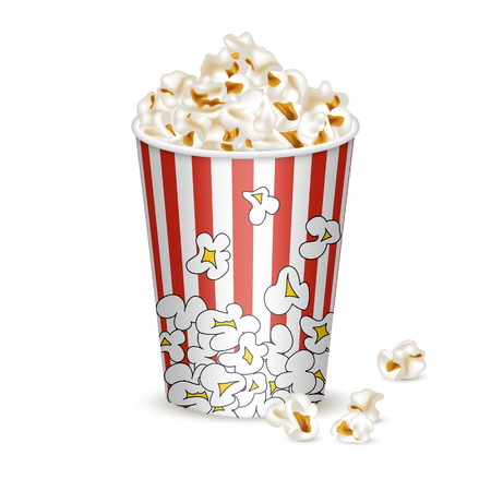 Middle striped bucket with popcorn. 3d realistic style. Element for cinema, movie food design. Isolated on white background. Vector illustration. Stock Illustratie