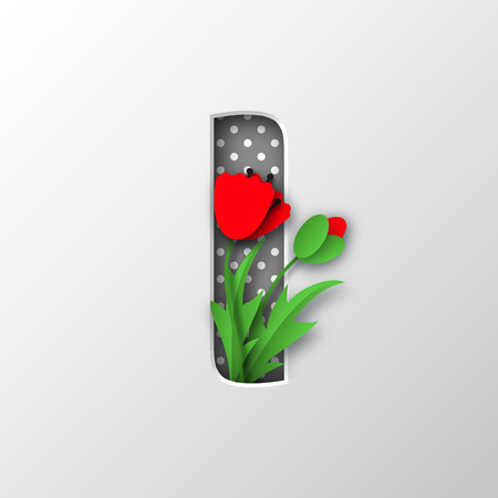 Paper cut letter I with poppy flowers illustration.