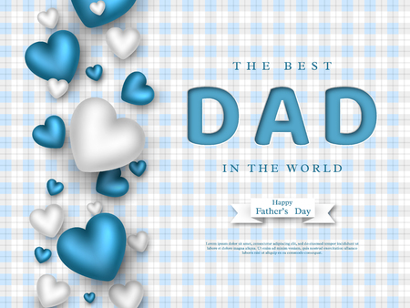 Fathers day greeting card. Paper cut style letters with 3d hearts and checkered pattern. Holiday background. Vector illustration. Vectores