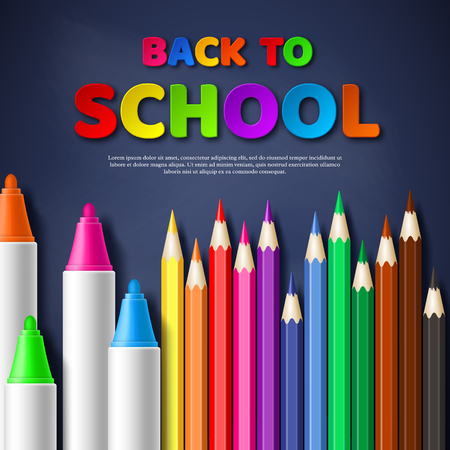 Back to school paper cut style letters with realistic colorful pencils and markers.