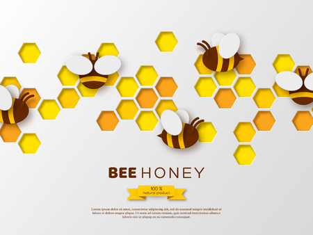 Paper cut style bee with honeycombs. Template design for beekiping and honey product. White background, vector illustration.