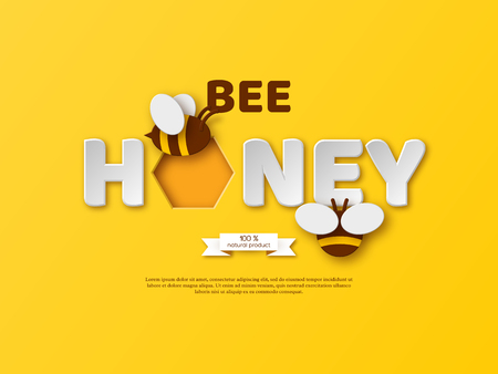 Bee honey typographic design. Paper cut style letters, comb and bee. White background, vector illustration.