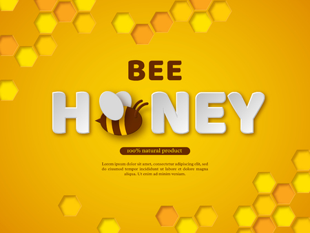 Bee honey typographic design. Paper cut style letters, comb and bee. Yellow background, vector illustration.  イラスト・ベクター素材