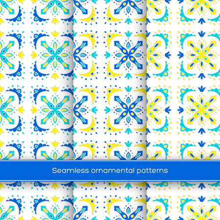 Set of seamless ornamental patterns. Traditional turkish, morrocan, arabesque, mexican ornaments, hand drawn vector illustration. Çizim