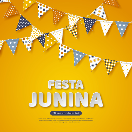 Festa Junina holiday design. Paper cut style letters with bunting flag on yellow background. Template for Brazilian or Latin festival, party, vector illustration. Stock Illustratie