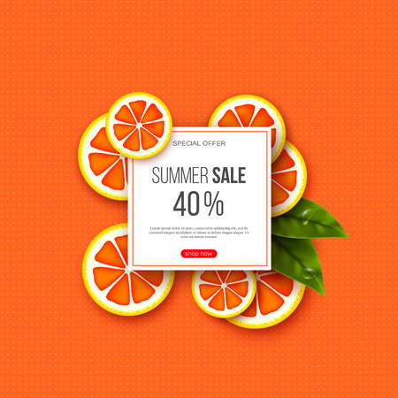 Summer sale banner with sliced grapefruit pieces, leaves and dotted pattern. Orange background - template for seasonal discounts, vector illustration.