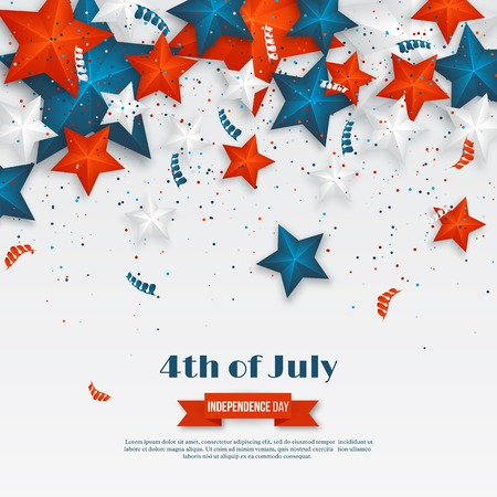 4th of July - Independence day of America. American holiday background. 3d stars in national colors with serpentine and confetti., vector illustration. Stockfoto