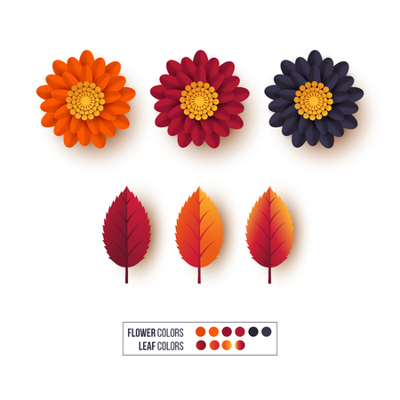 Set of 3d autumn leaves with flowers. Decorative elements for autumnal greeting cards, backgrounds. Orange, burgundy, violet colors. Isolated on white. Vector illustration. Vectores