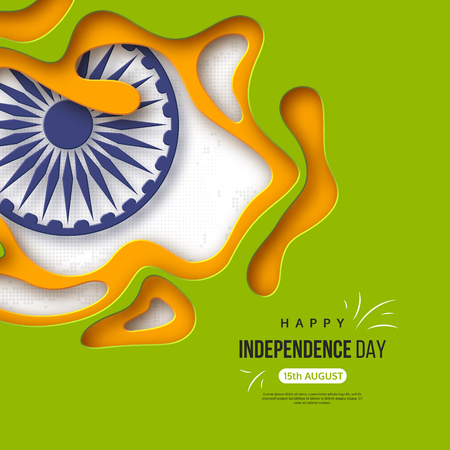 Indian Independence day holiday background. Paper cut shapes with shadow, 3d wheel and halftone effect in traditional tricolor of indian flag. Greeting text. Vector illustration.