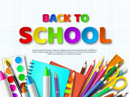 Back to school typography design with realistic school supplies. Paper cut style letters on squared background. Vector illustration.