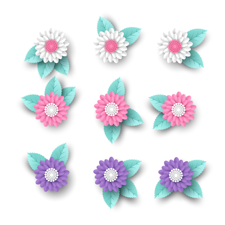 Set of 3d paper cut flowers with leaves. Decorative elements greeting cards, backgrounds. White, pink and violet colors. Isolated on white. Vector illustration.