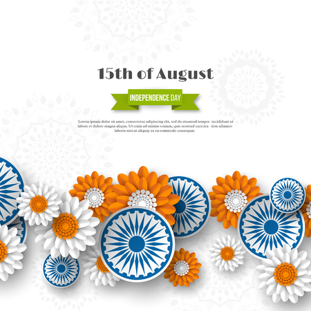 Indian Independence day holiday design. 3d wheels with flowers in traditional tricolor of indian flag. Paper cut style. White background. Vector illustration.