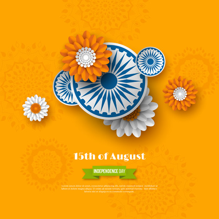 Indian Independence day holiday design. 3d wheels with flowers in traditional tricolor of indian flag. Paper cut style. Orange background. Vector illustration.
