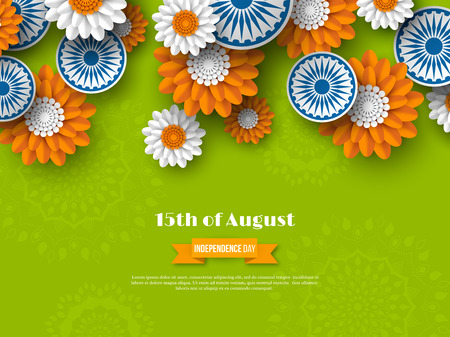 Indian Independence day holiday design. 3d wheels with flowers in traditional tricolor of indian flag. Paper cut style. Green background. Vector illustration. Illustration