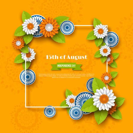 Indian Independence day holiday design. 3d wheels, frame and flowers in traditional tricolor of indian flag. Paper cut style. Orange background. Vector illustration.  イラスト・ベクター素材